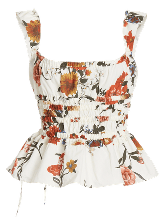 T-Silvia Floral Cotton Peplum Top