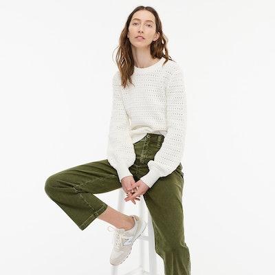 Balloon-Sleeve Pointelle Sweater