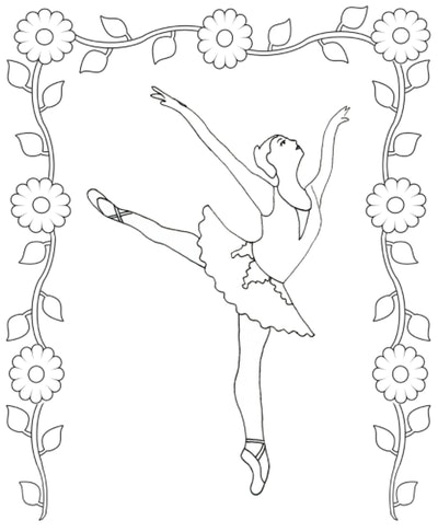 Illustration of a ballerina on point surrounded by a frame of flowers