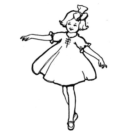 Vintage ballerina wearing a large hair bow