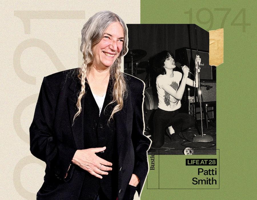 Patti Smith in 2021, and Patti Smith in 1974