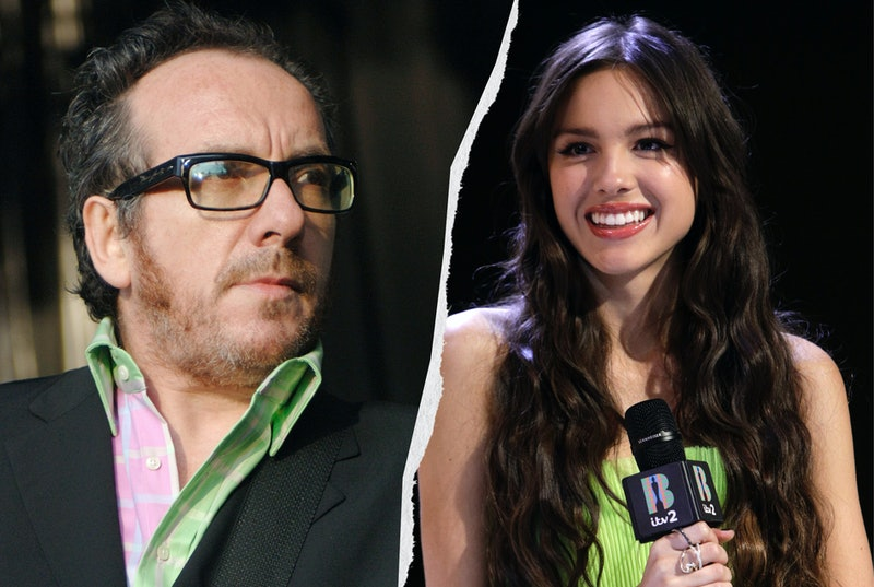 Elvis Costello and Olivia Rodrigo in a side by side split image