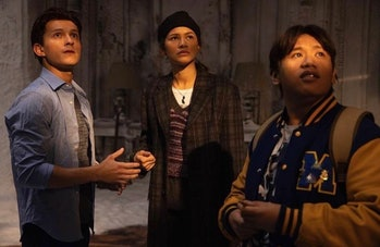 Tom Holland, Zendaya, and Jacob Batalon in Spider-Man: No Way Home