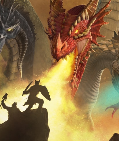 dragon breathing fire on adventurers from rise of tiamat