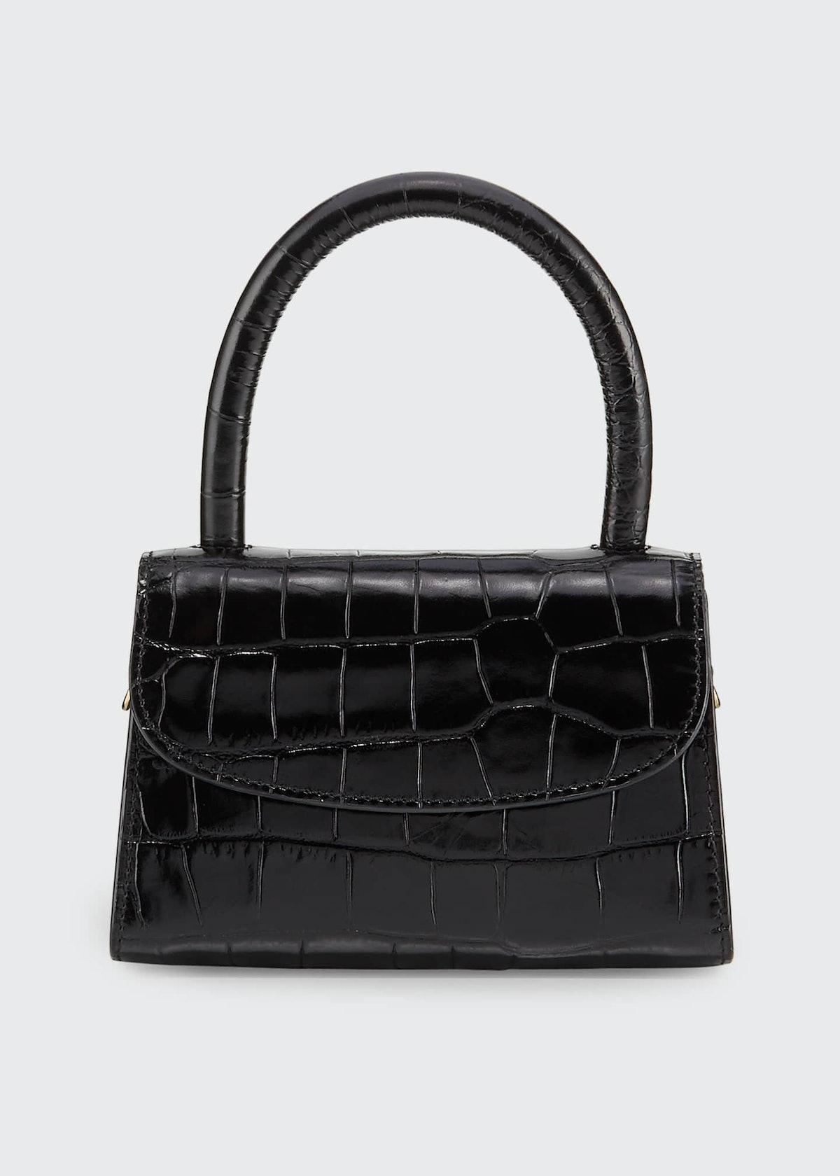 Mini Crocodile-Embossed Top Handle Bag