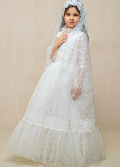 First Communion Lace Dress and Veil