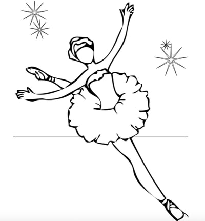 Illustration of a ballerina in a tutu leaping