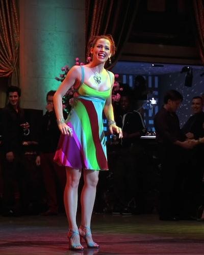 Jennifer Garner wearing a colorful strap dress in 13 Going on 30.