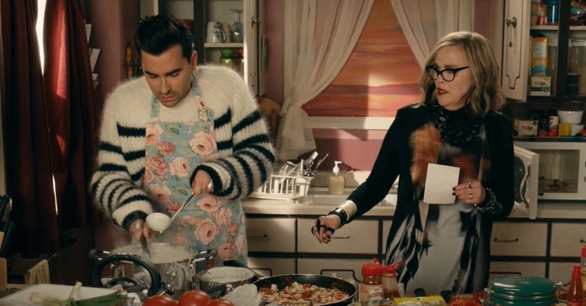 These 'Schitt's Creek' backgrounds for Zoom feature David and Moira's cooking lesson.