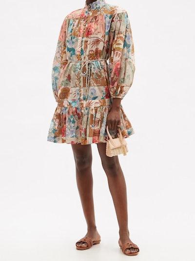Cassia Patchwork-Floral Cotton Mini Dress