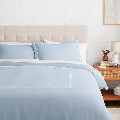 Amazon Basics Embroidered Hotel Stitch Duvet Cover Set