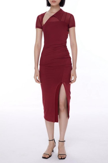 Mesh Burgundy Twisted Qipao Dress