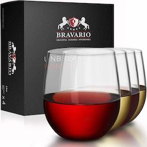Bravario Unbreakable Stemless Wine Glasses (Set of 4)