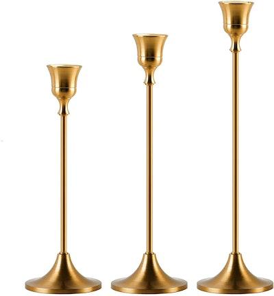SUJUN Brass Gold Candlestick Holders (Set of 3)