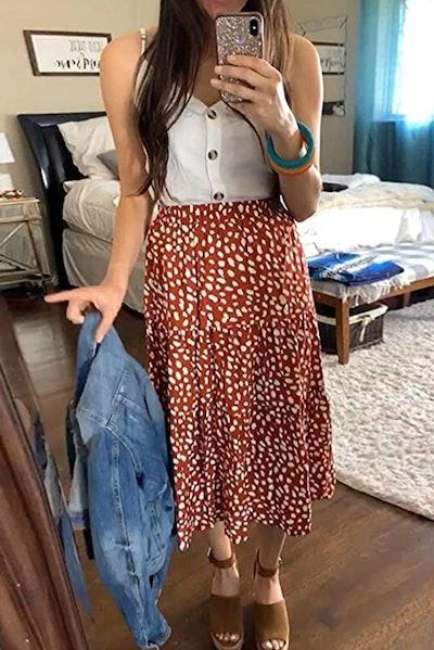 MEROKEETY High Waist A-Line Skirt