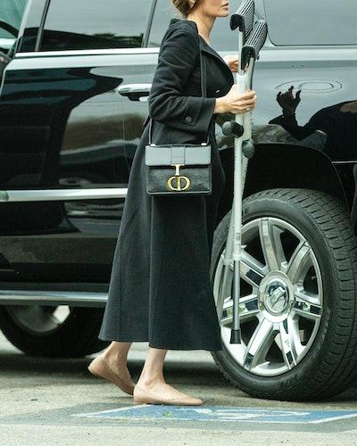 Angelina Jolie wearing Chloé scallop ballet flats.
