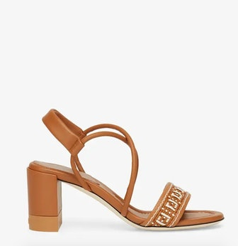 FF Interlace Brown Leather Sandals