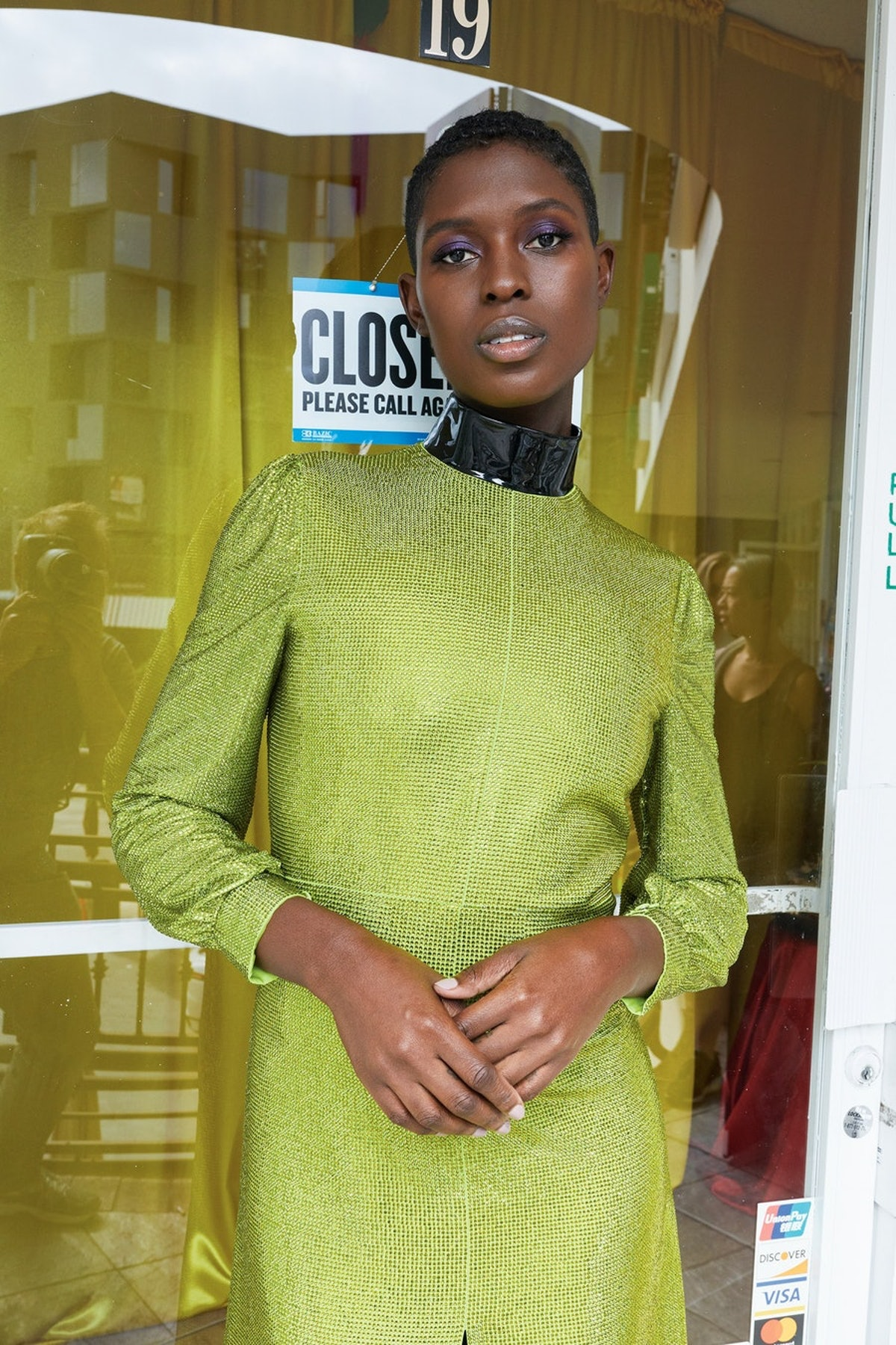 Jodie Turner-Smith wearing green