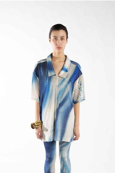 Blue Long Velvet Shirt