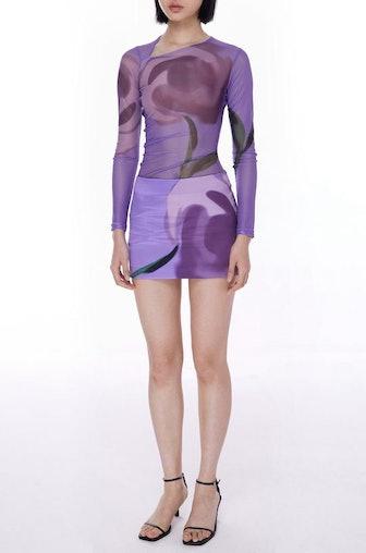 Lilac Rose Satin Mini Skirt