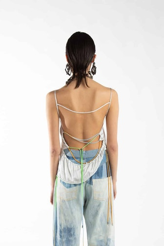 Grey Laced Open Back Satin Top