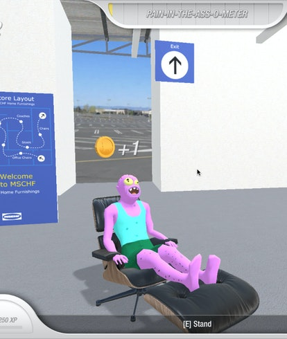 A screen shot from Chair Simulator, a video game about sitting. Video games. Gaming. Steam. PC gaming. MSCHF.