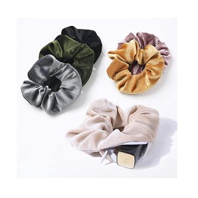 Ivyu Lobaba Velvet Scrunchies With Zipper Pocket (6-Pack)