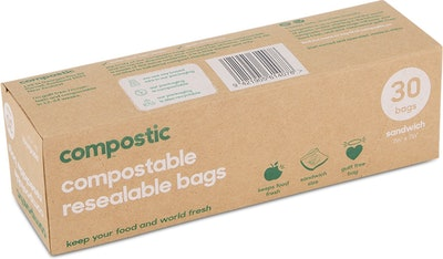 2-Pack Compostable Resealable Quart Bags