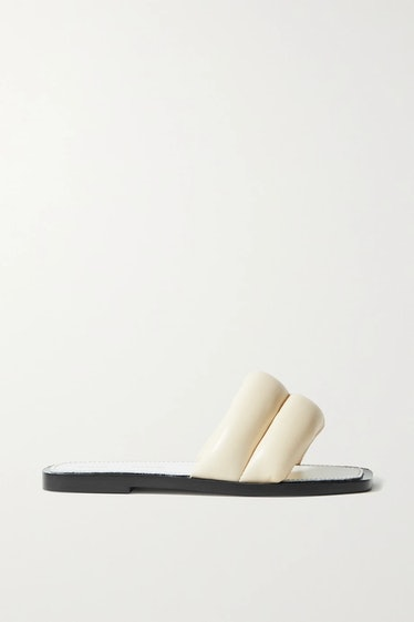 Puffy Quilted Leather Slides