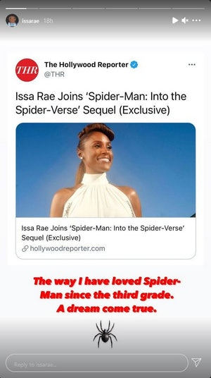 Issa Rae reacted to joining the 'Spider-Man: Into the Spider-Verse' sequel on Instagram
