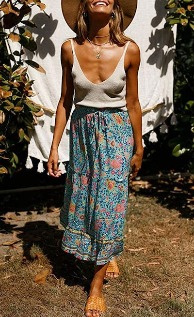 ZESICA Floral Printed Maxi Skirt with Pockets