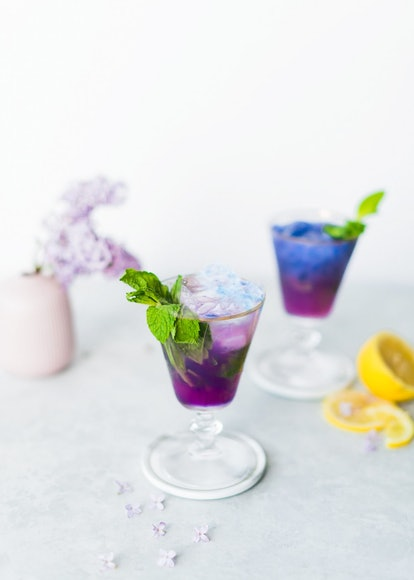 color changing mint julep cocktail