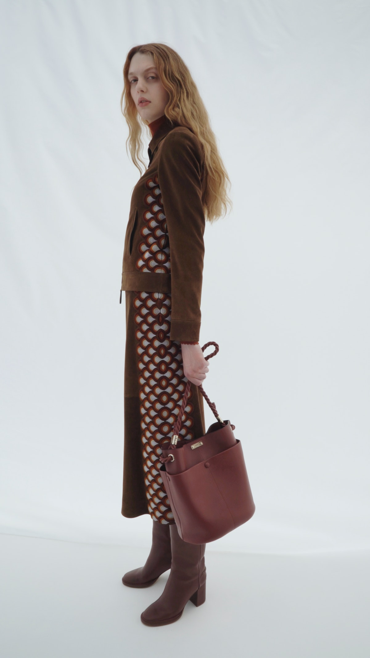 model in chloé dress with bag