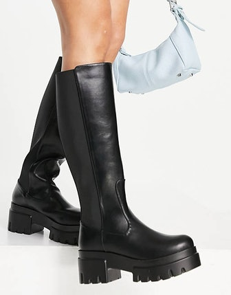 Ego Pulse Pull Up Knee Boots In Black