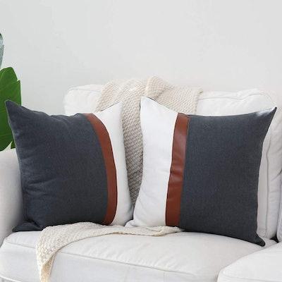 Kiuree Gray & White Throw Pillow Covers (2-Pack)