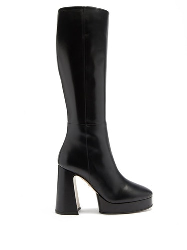 Madame Leather Knee-High Platform Boots
