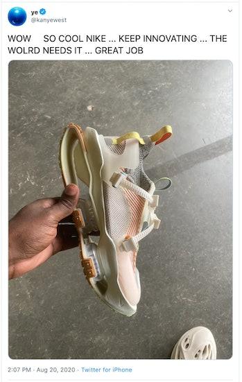 Kanye West tweet, holding Nike ISPA Road Warrior sneaker