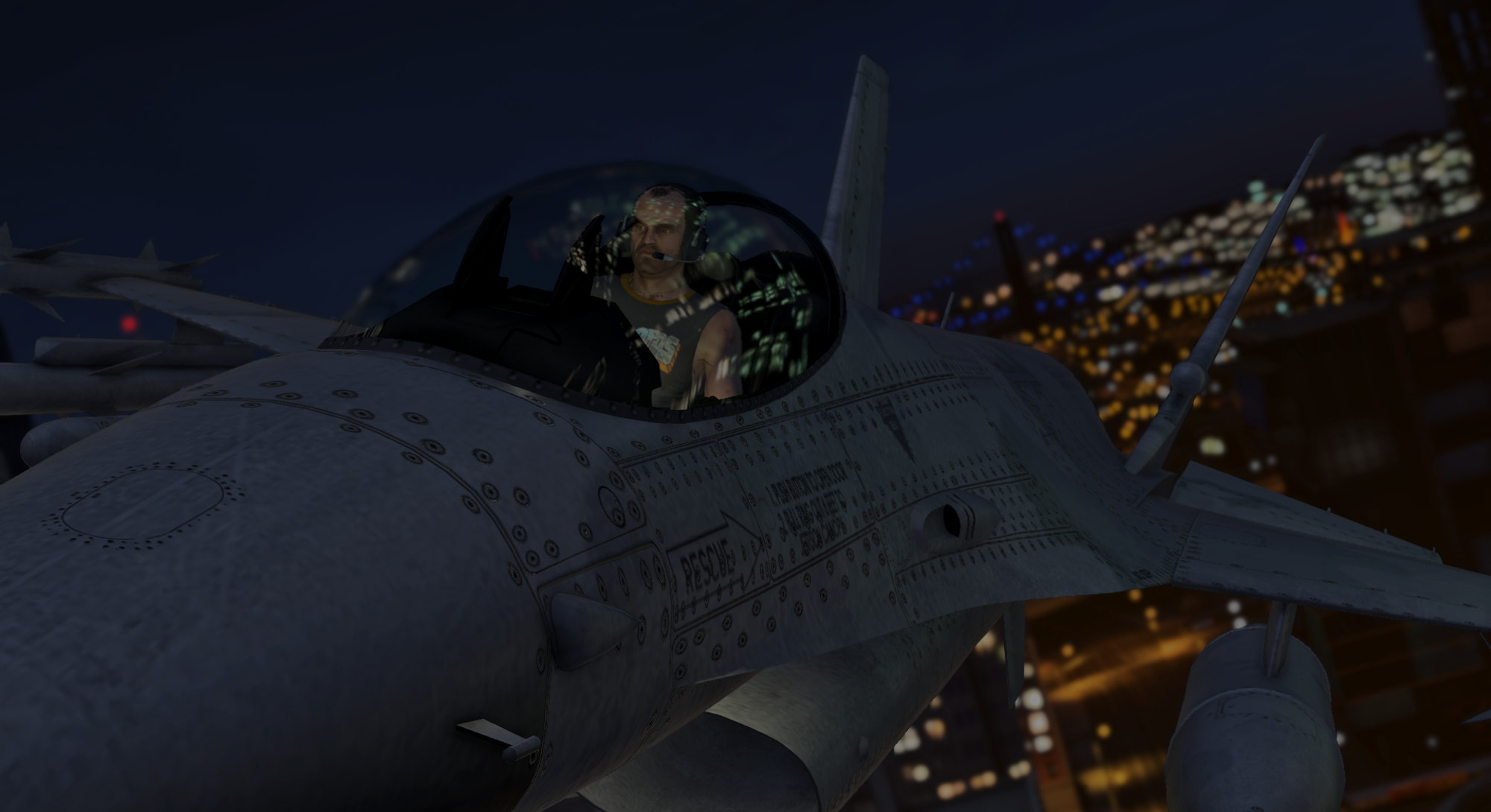 Trevor Phillips piloting a fighter jet in Grand Theft Auto V. Video games. Gaming. Rockstar games.