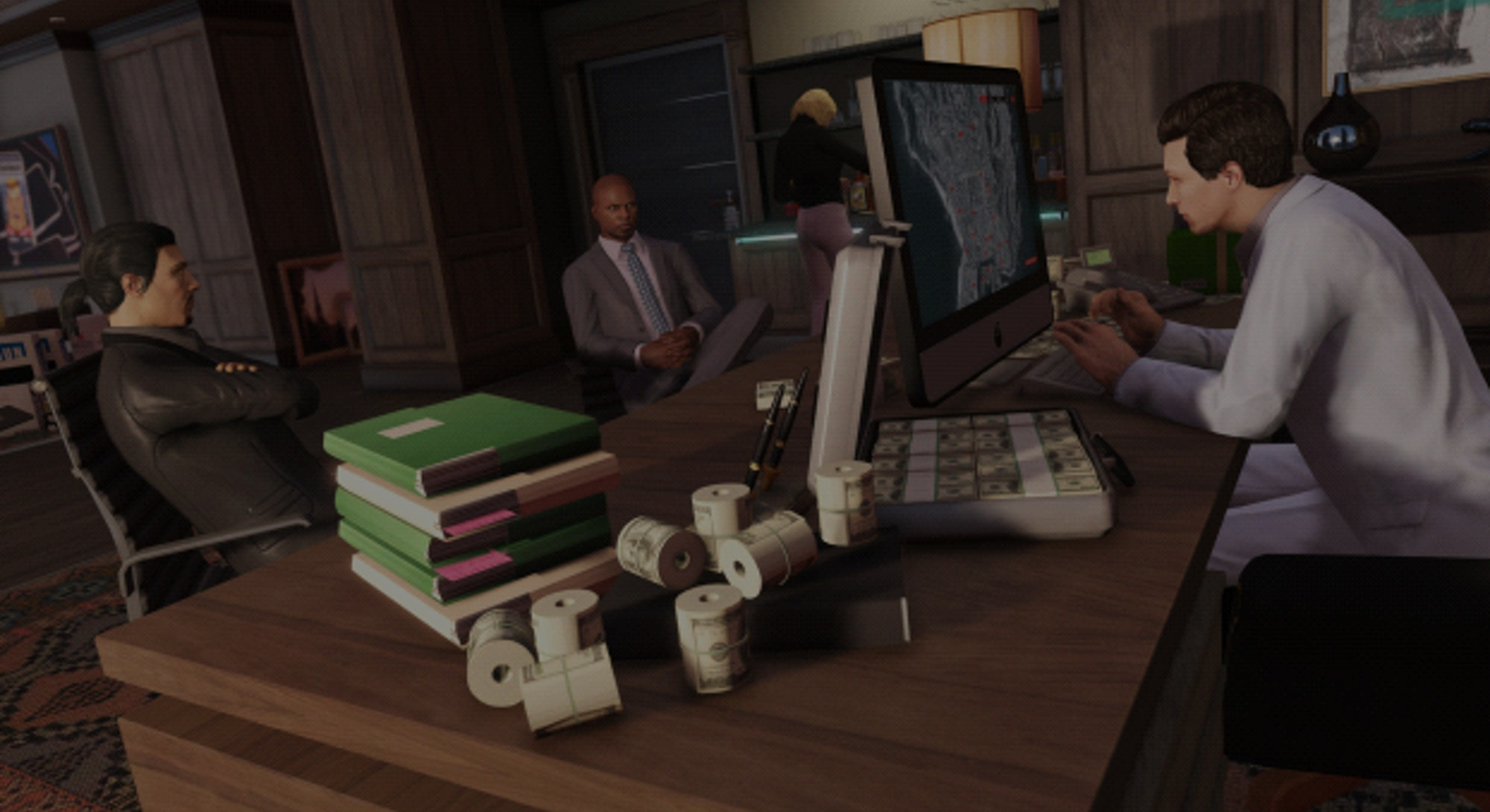 A screenshot from the story mode of Grand Theft Auto V. Video games. Gaming. Rockstar games.