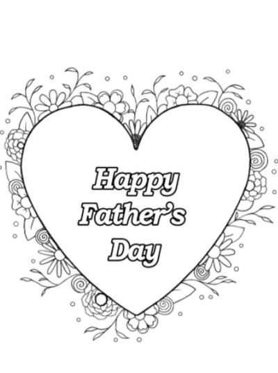 Father's Day Coloring Page : Heart & Flowers