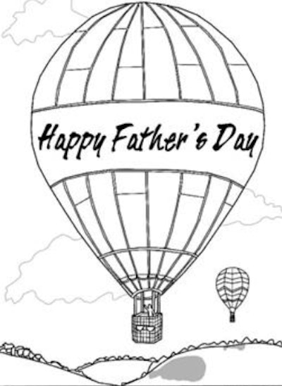 Balloon Father's Day Coloring Page