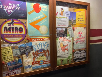 A cork board located in the WEB Slingers ride at Disneyland's Avengers Campus has some Easter eggs f...