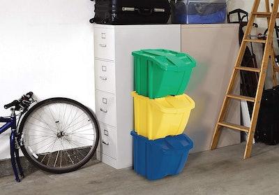 Suncast Indoor/Outdoor Stackable Recycle Bin Kit (3-Pack)