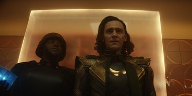 Wunmi Mosaku as Hunter B-15 and Tom Hiddleston as Loki minutes after his escape in Avengers: Endgame