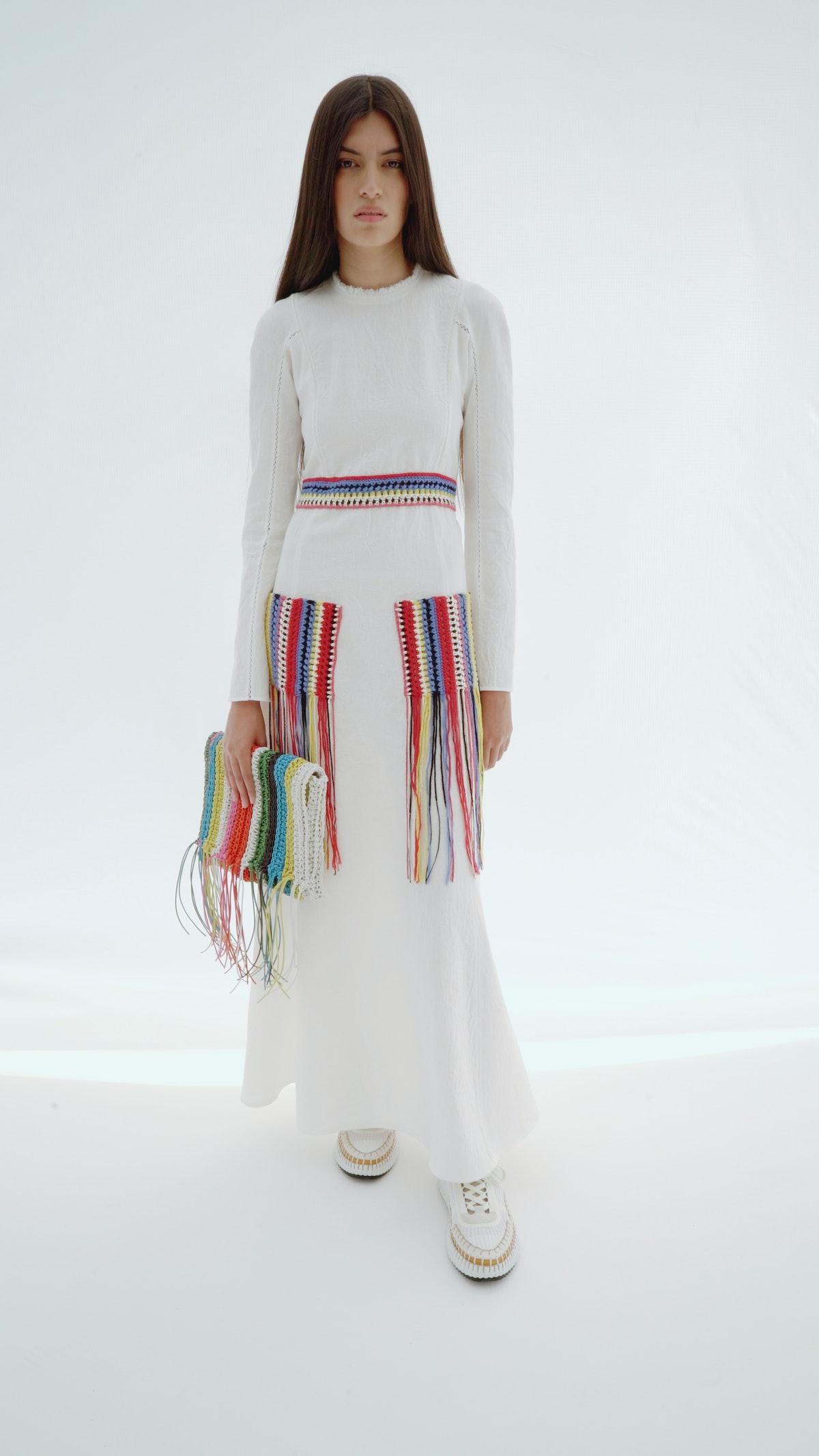 model in chloé knit dress
