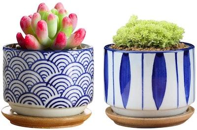 GeLive Japanese Ceramic Succulent Planter (Set of 2)