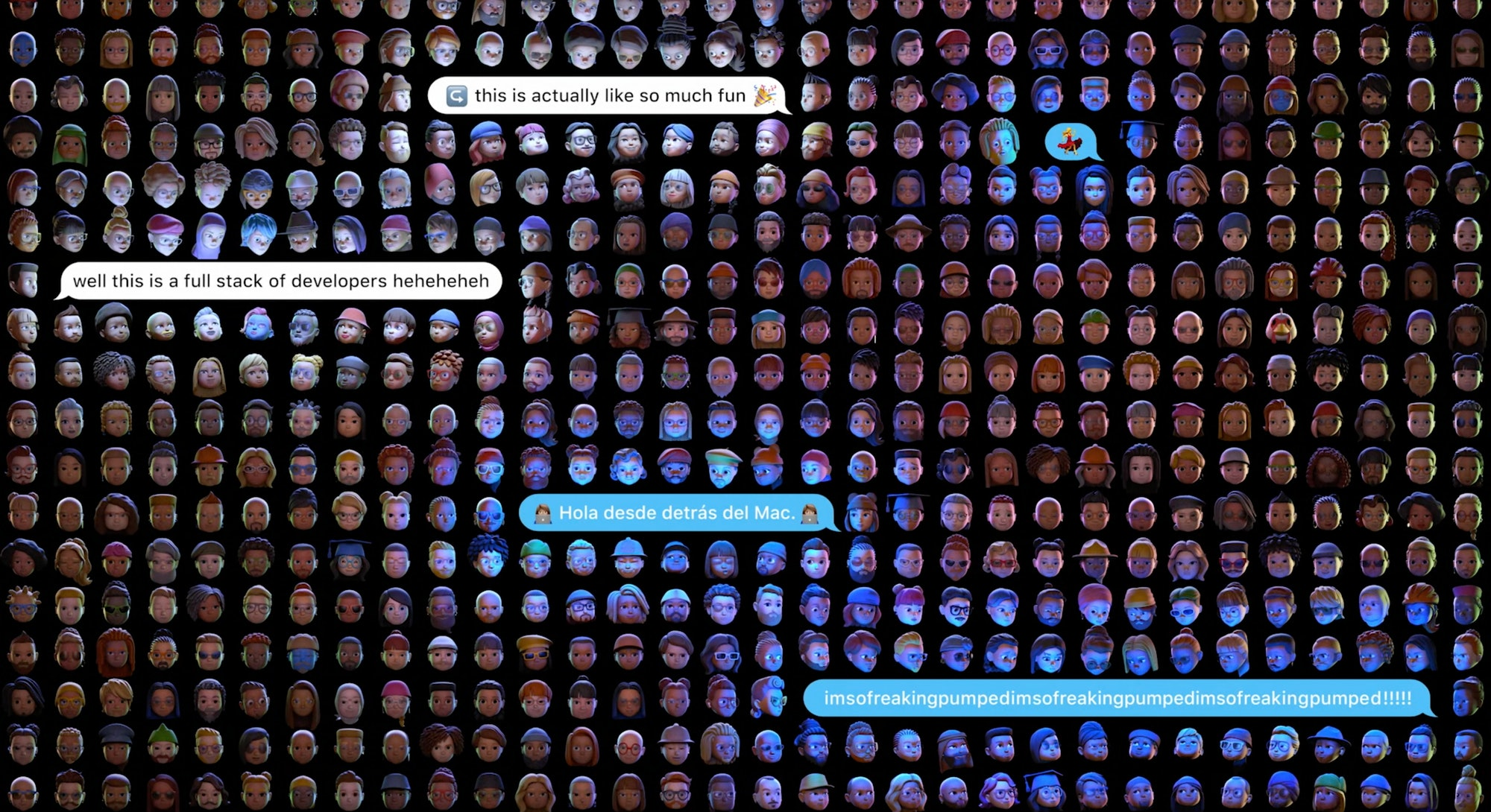 Picture of memojis at WWDC. Apple. iOS. iOS 15. Developers. Apps. App store. iMessage.