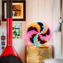 Jonathan Adler's collaboration with Yellowpop includes this neon art piece.