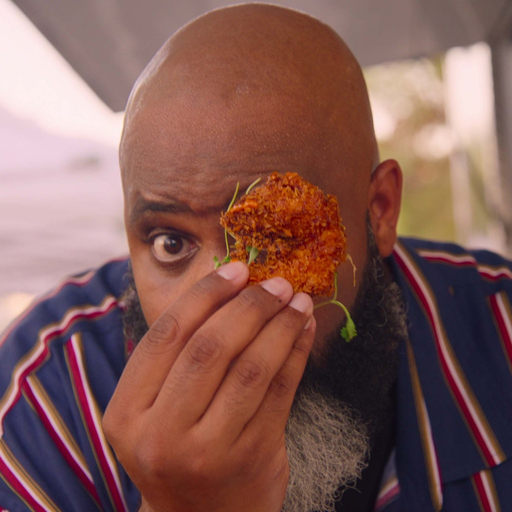 Food critic Daym Drops tastes delicious food in 'Fresh, Fried, and Crispy,' which premieres on Netflix this week.