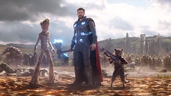 Thor, Rocket, and Groot in Wakanda in Avengers: Infinity War